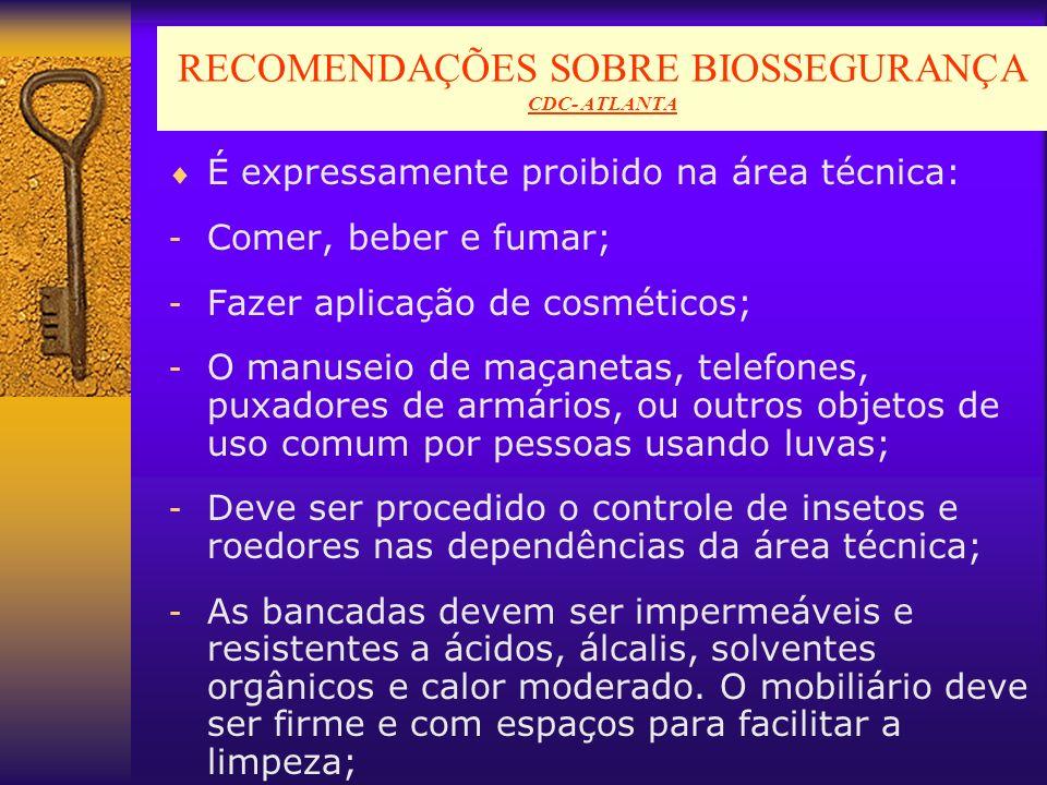 RECOMENDAÇÕES SOBRE BIOSSEGURANÇA CDC- ATLANTA