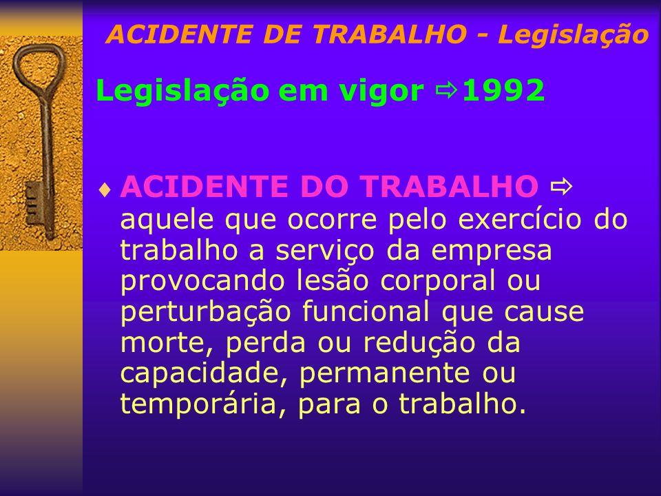ACIDENTE DE TRABALHO - Legislação
