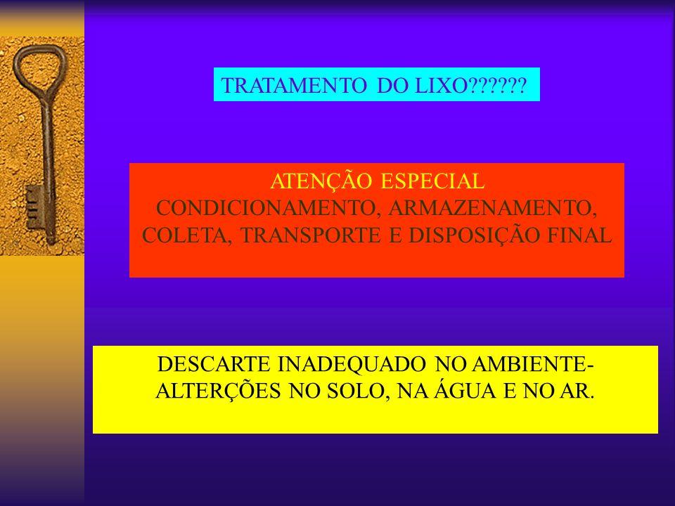 CONDICIONAMENTO, ARMAZENAMENTO, COLETA, TRANSPORTE E DISPOSIÇÃO FINAL