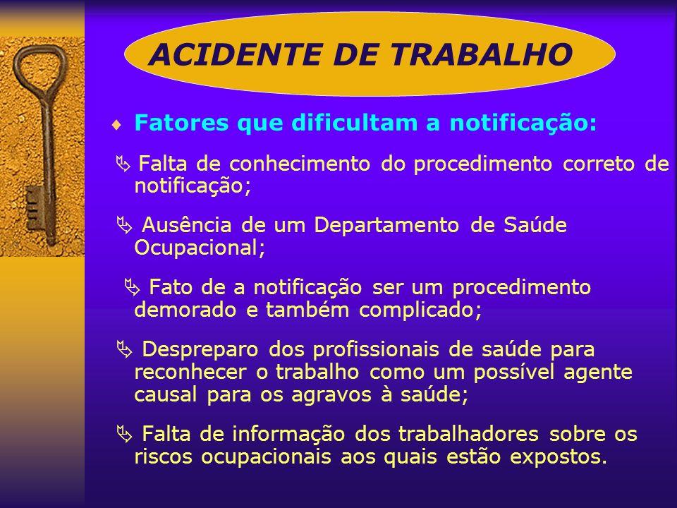 ACIDENTE DE TRABALHO Fatores que dificultam a notificação: