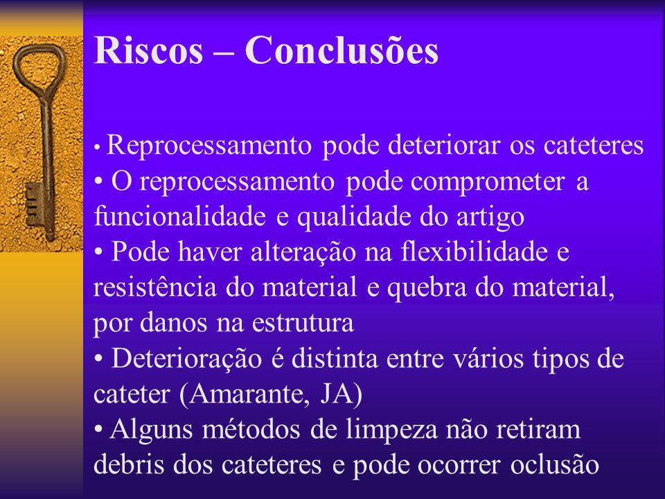 Riscos – Conclusões • Reprocessamento pode deteriorar os cateteres. • O reprocessamento pode comprometer a funcionalidade e qualidade do artigo.