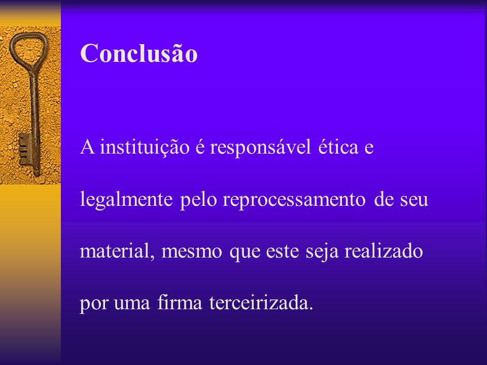 Conclusão A instituição é responsável ética e