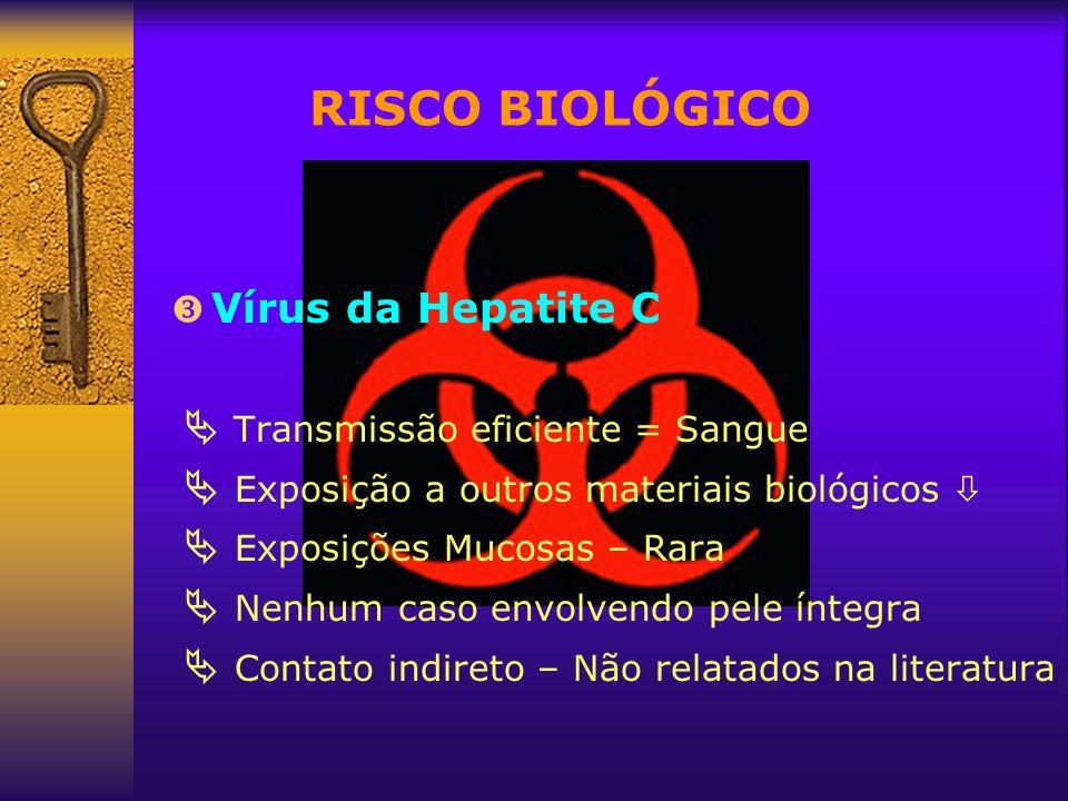 RISCO BIOLÓGICO Vírus da Hepatite C  Transmissão eficiente = Sangue