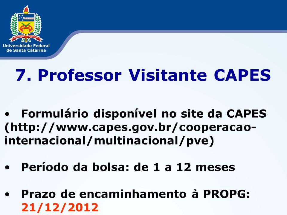 7. Professor Visitante CAPES