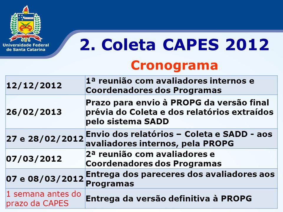 2. Coleta CAPES 2012 Cronograma