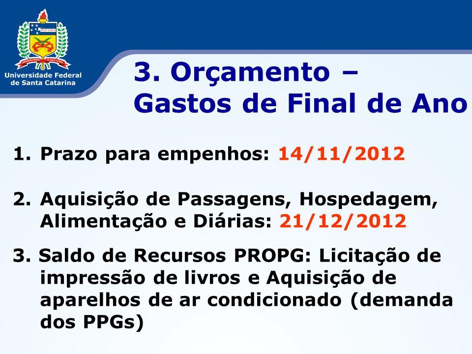 3. Orçamento – Gastos de Final de Ano Prazo para empenhos: 14/11/2012