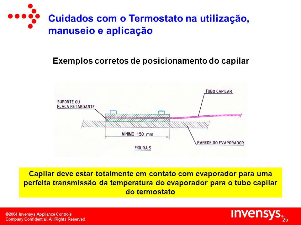 Exemplos corretos de posicionamento do capilar