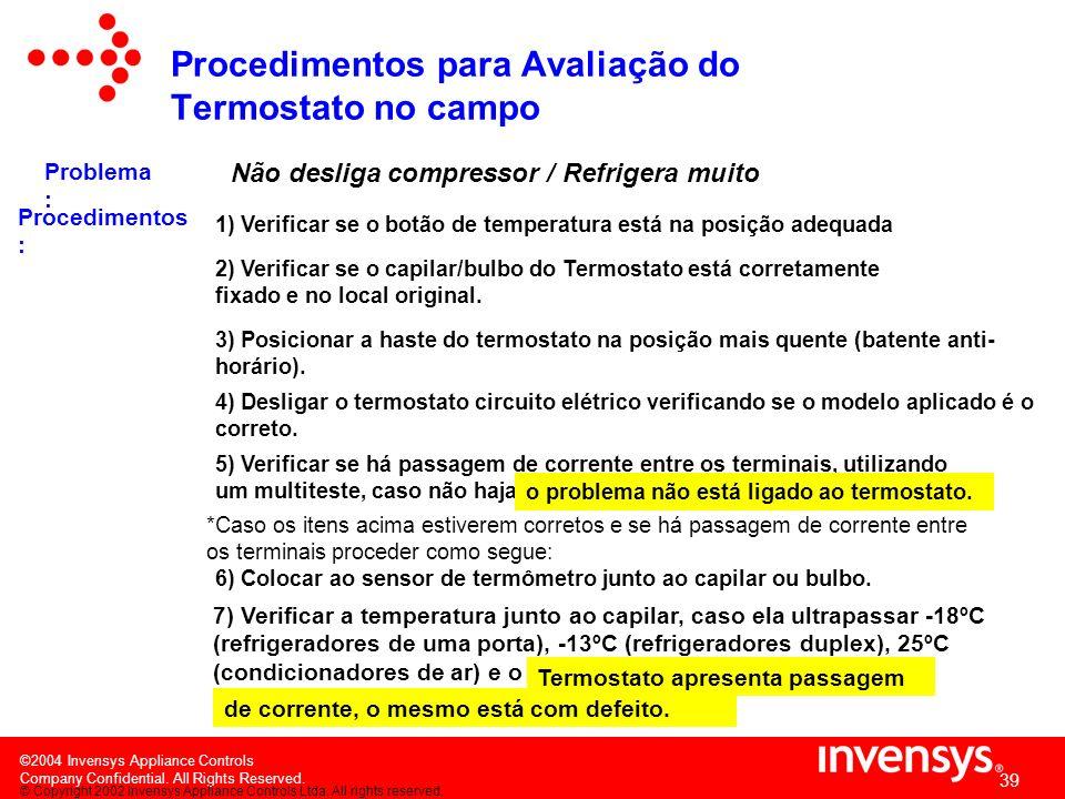 Procedimentos para Avaliação do Termostato no campo
