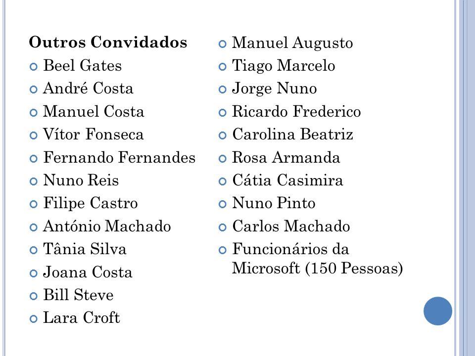 Outros Convidados Manuel Augusto. Beel Gates. Tiago Marcelo. André Costa. Jorge Nuno. Manuel Costa.