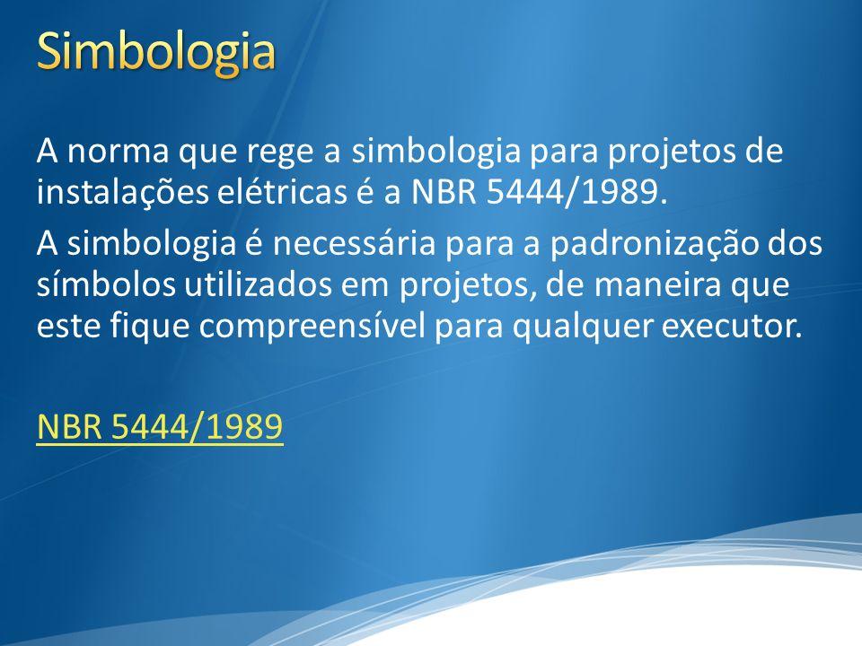 3/30/2017 5:00 PM Simbologia. A norma que rege a simbologia para projetos de instalações elétricas é a NBR 5444/1989.