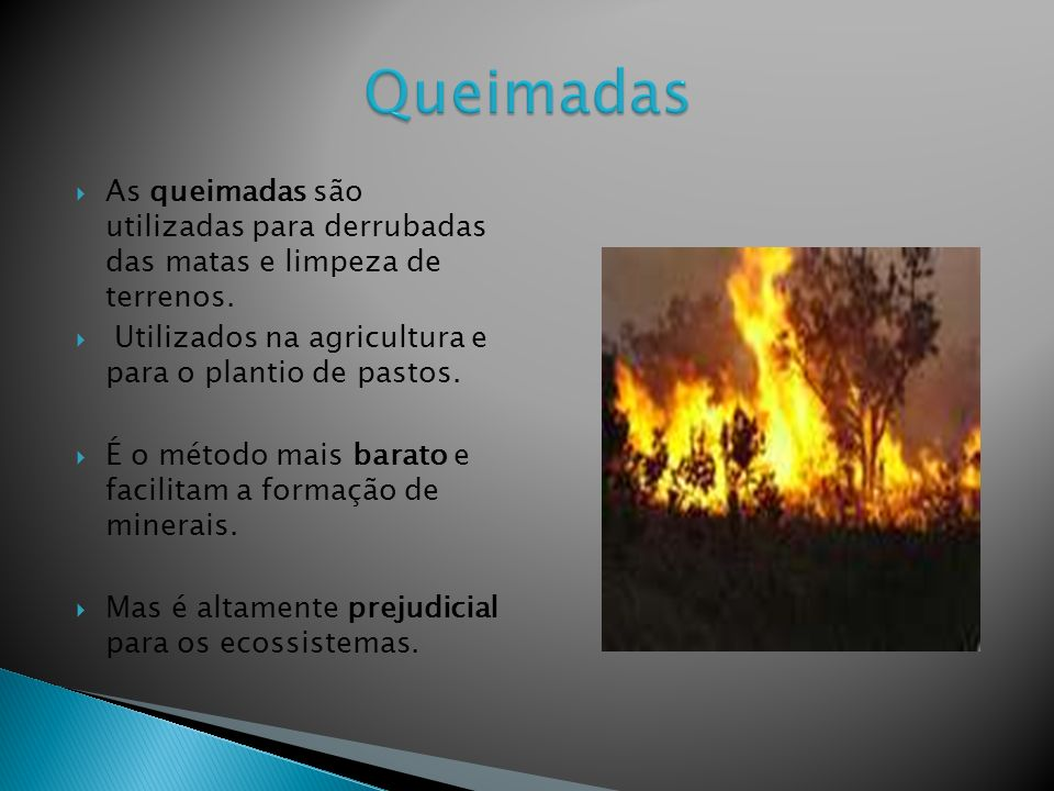 Queimadas As queimadas são utilizadas para derrubadas das matas e limpeza de terrenos. Utilizados na agricultura e para o plantio de pastos.