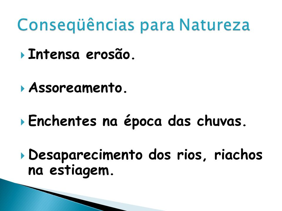 Conseqüências para Natureza