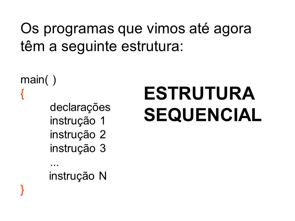 Os programas que vimos até agora têm a seguinte estrutura: