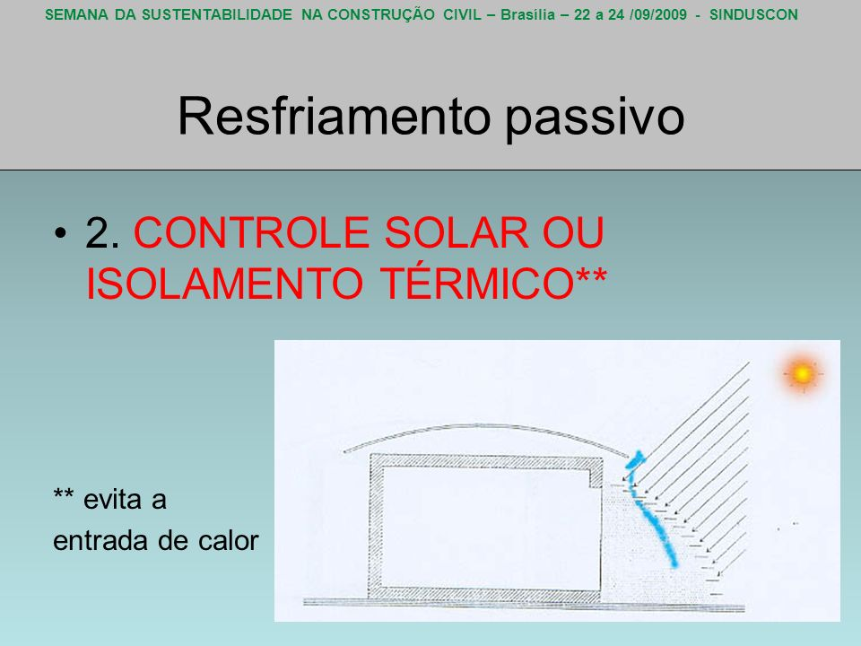 Resfriamento passivo 2. CONTROLE SOLAR OU ISOLAMENTO TÉRMICO**