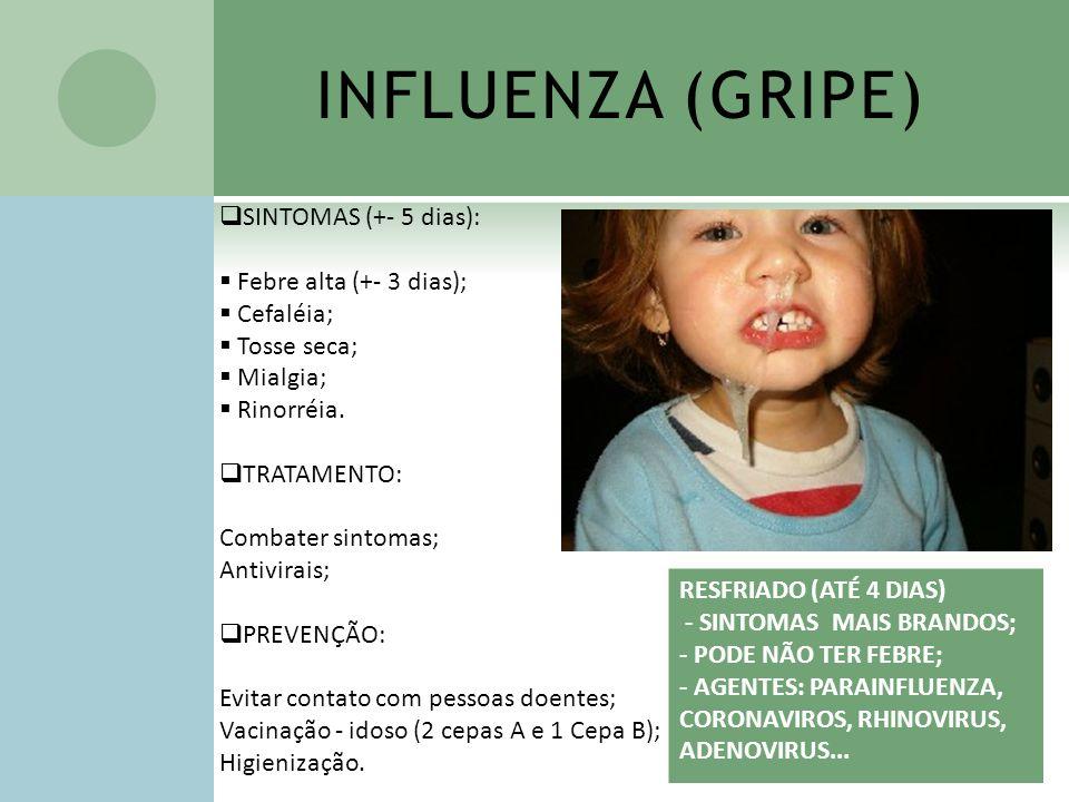 INFLUENZA (GRIPE) SINTOMAS (+- 5 dias): Febre alta (+- 3 dias);