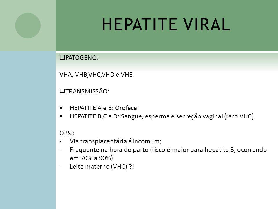 HEPATITE VIRAL PATÓGENO: VHA, VHB,VHC,VHD e VHE. TRANSMISSÃO: