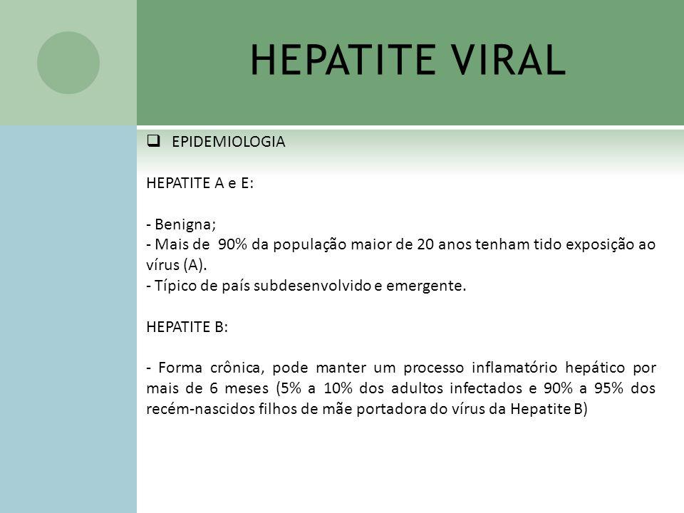 HEPATITE VIRAL EPIDEMIOLOGIA HEPATITE A e E: Benigna;