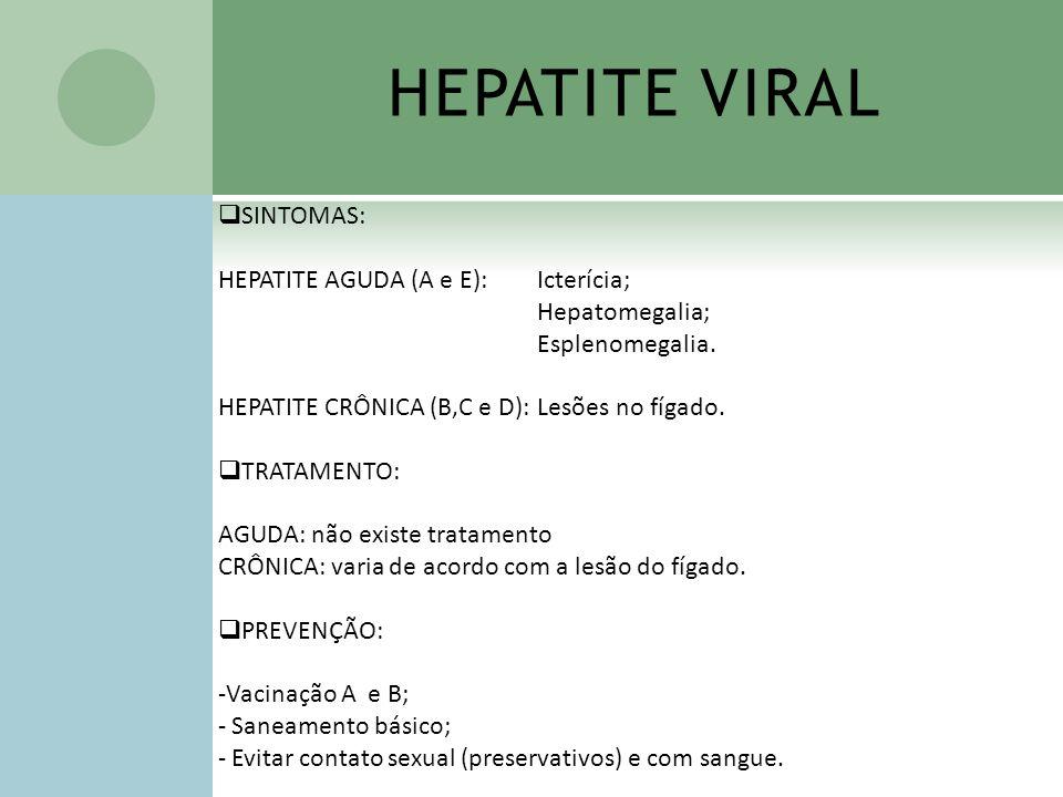 HEPATITE VIRAL SINTOMAS: HEPATITE AGUDA (A e E): Icterícia;