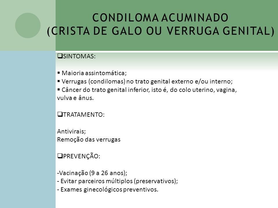 CONDILOMA ACUMINADO (CRISTA DE GALO OU VERRUGA GENITAL)