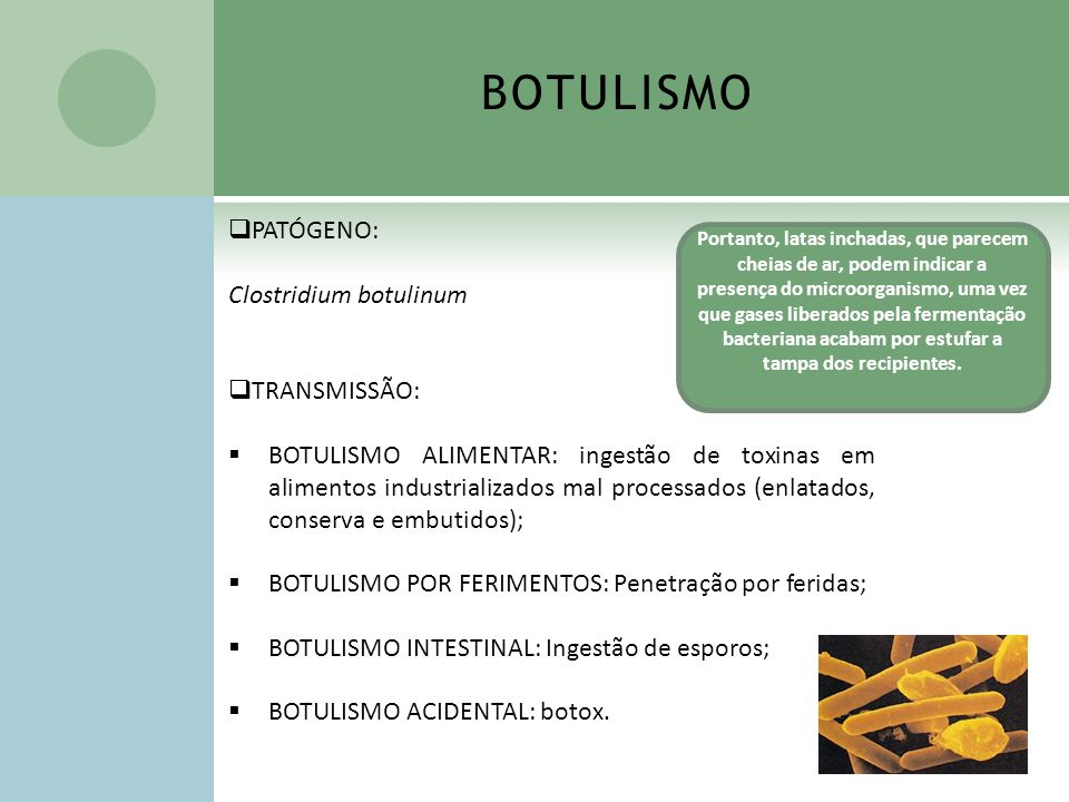 BOTULISMO PATÓGENO: Clostridium botulinum TRANSMISSÃO:
