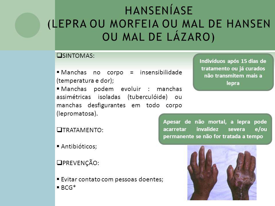 HANSENÍASE (LEPRA OU MORFEIA OU MAL DE HANSEN OU MAL DE LÁZARO)