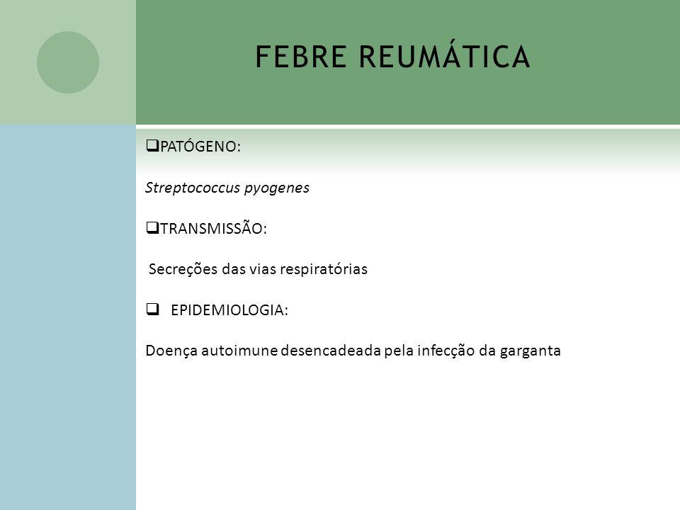 FEBRE REUMÁTICA PATÓGENO: Streptococcus pyogenes TRANSMISSÃO:
