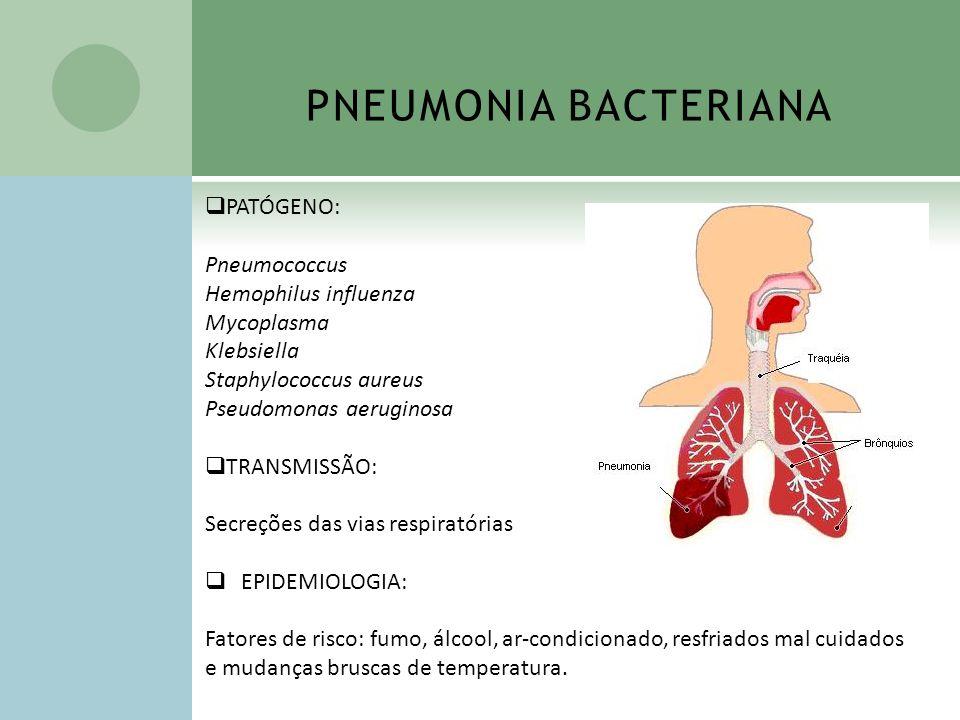 PNEUMONIA BACTERIANA PATÓGENO: Pneumococcus Hemophilus influenza