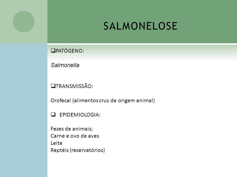 SALMONELOSE PATÓGENO: Salmonella TRANSMISSÃO: