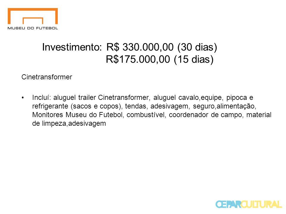 Investimento: R$ 330.000,00 (30 dias) R$175.000,00 (15 dias)