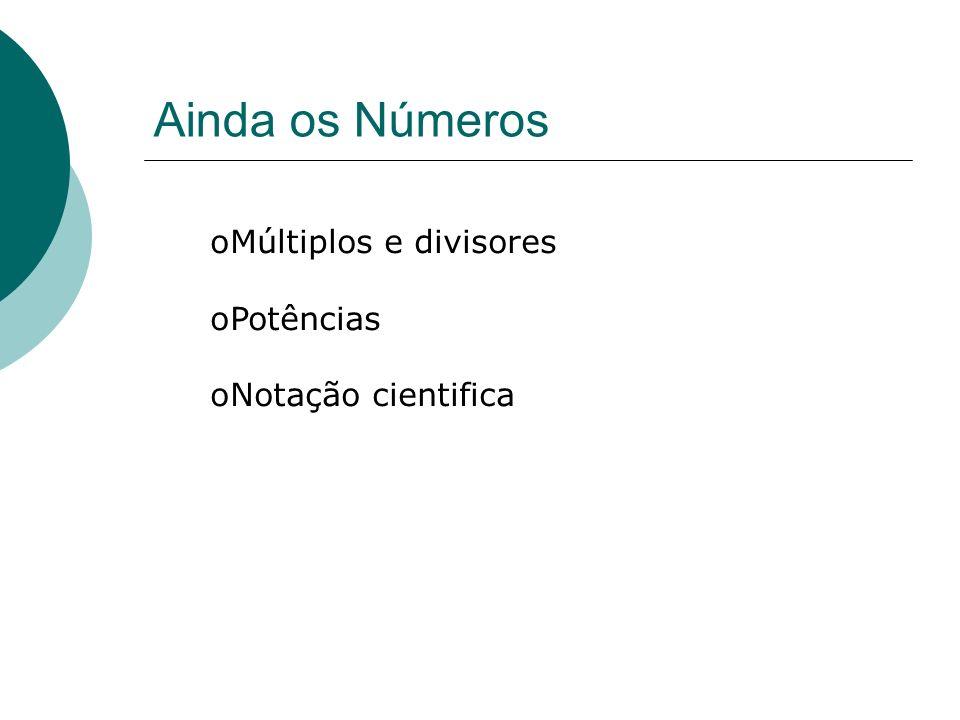 Ainda os Números Múltiplos e divisores Potências Notação cientifica