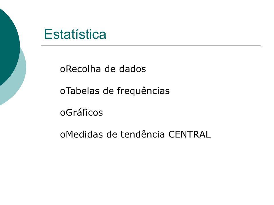 Estatística Recolha de dados Tabelas de frequências Gráficos