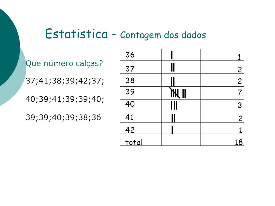 Estatistica - Contagem dos dados