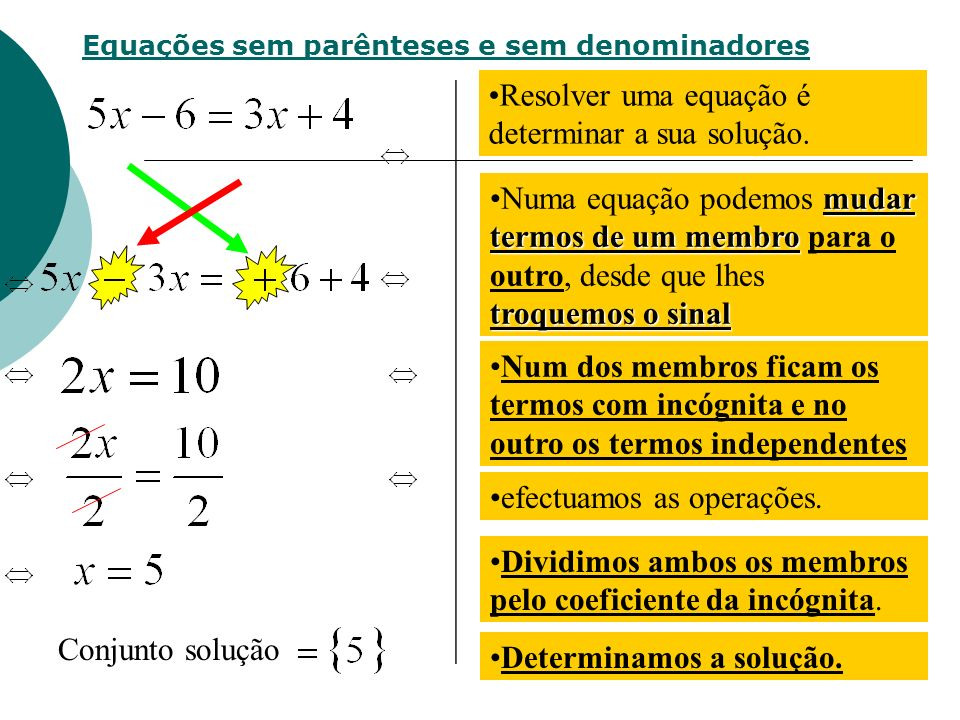 Resolver uma equação é determinar a sua solução.