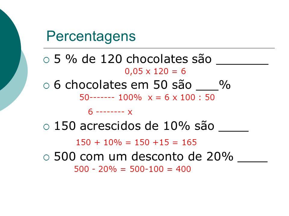 5 % de 120 chocolates são _______
