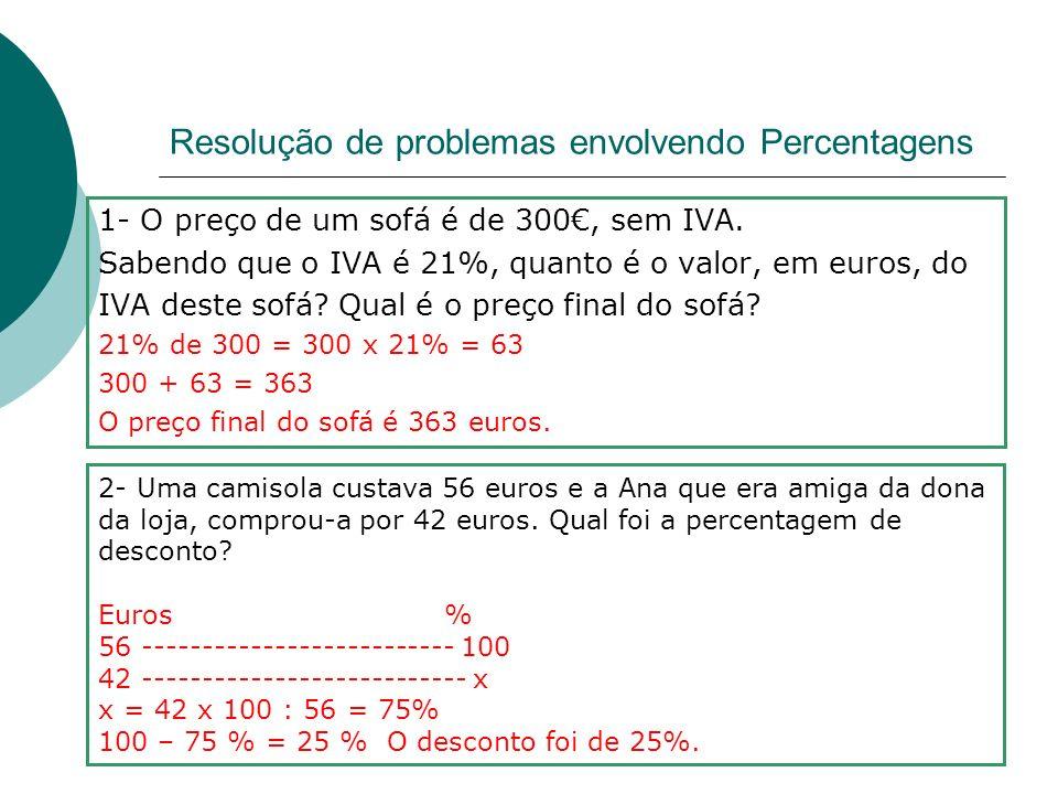 Resolução de problemas envolvendo Percentagens