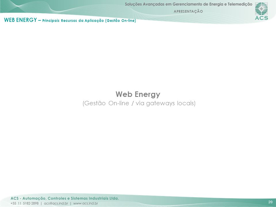 Web Energy (Gestão On-line / via gateways locais)