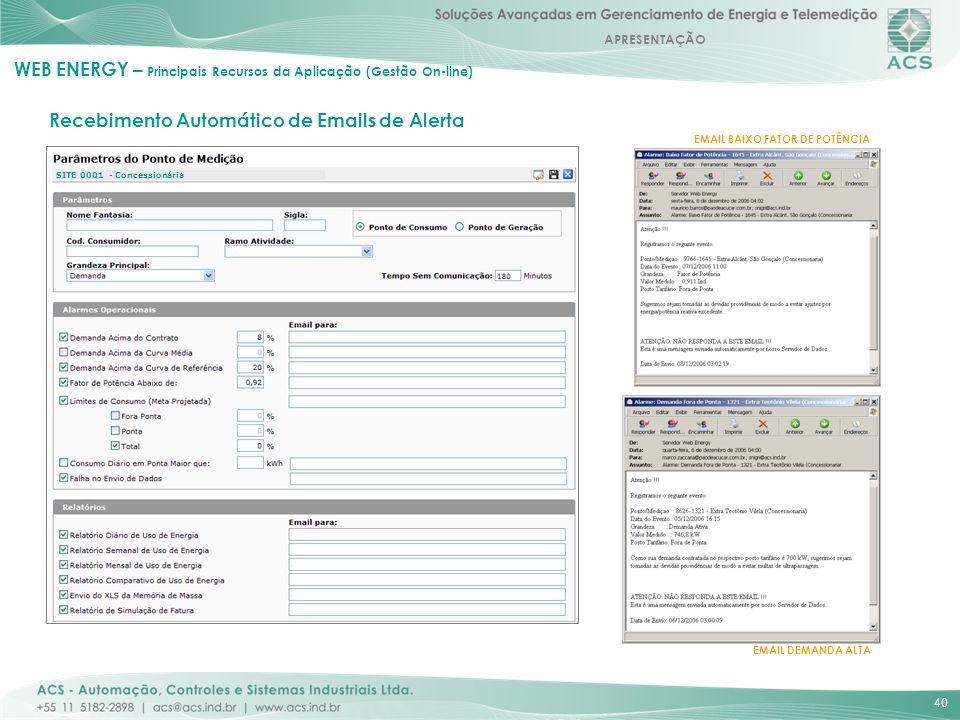 WEB ENERGY – Principais Recursos da Aplicação (Gestão On-line)