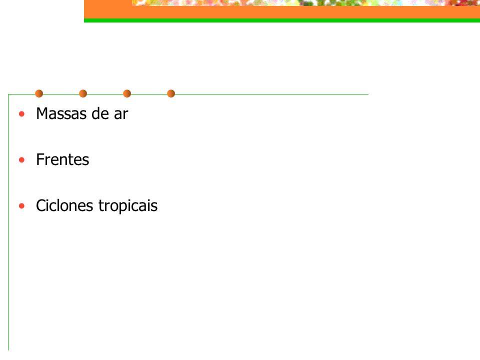 Massas de ar Frentes Ciclones tropicais