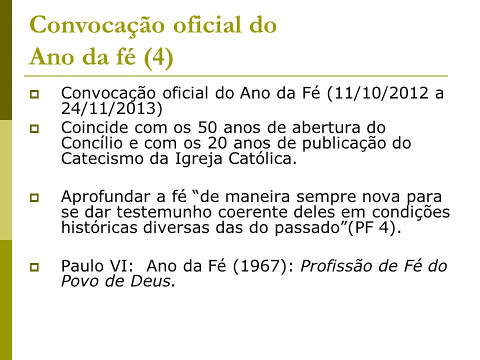 Convocação oficial do Ano da fé (4)