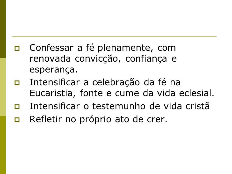 Confessar a fé plenamente, com renovada convicção, confiança e esperança.