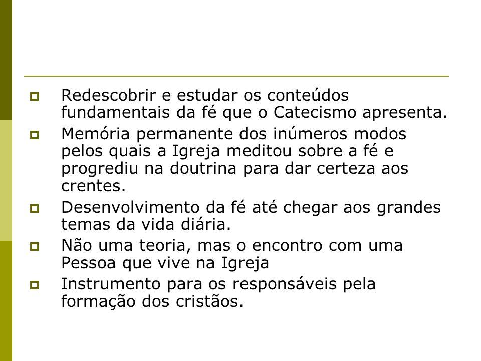 Redescobrir e estudar os conteúdos fundamentais da fé que o Catecismo apresenta.