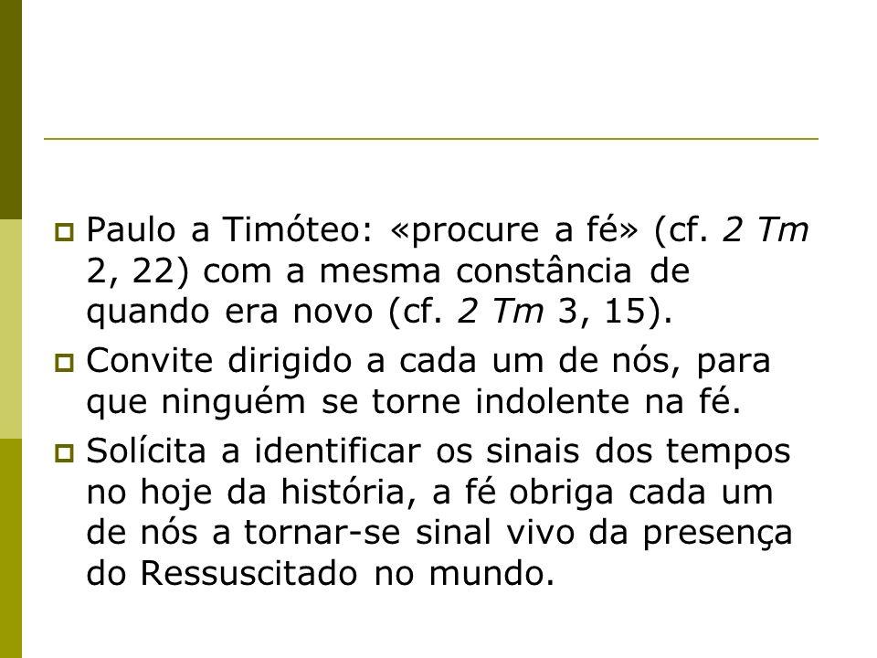 Paulo a Timóteo: «procure a fé» (cf