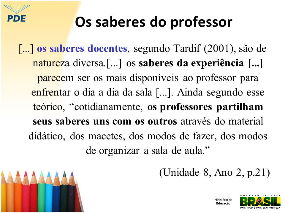 Os saberes do professor