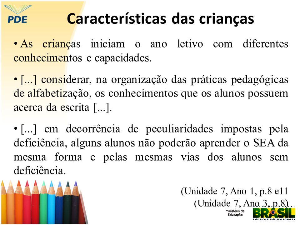 Características das crianças