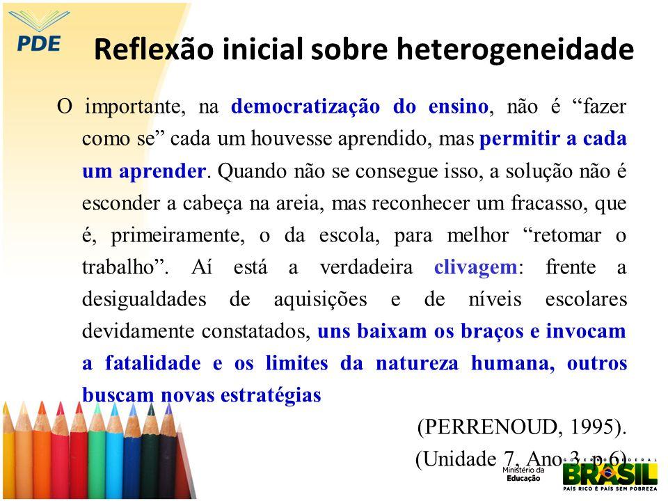 Reflexão inicial sobre heterogeneidade