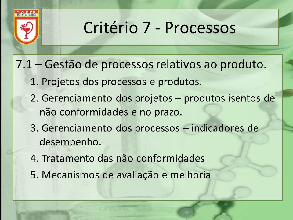 Critério 7 - Processos 7.1 – Gestão de processos relativos ao produto.