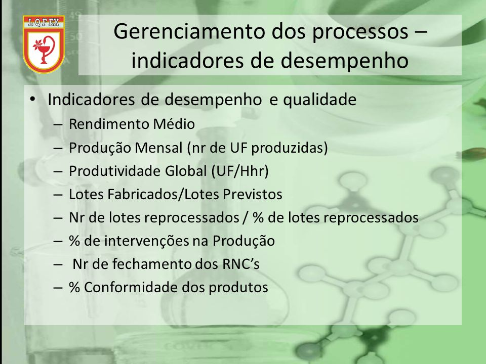 Gerenciamento dos processos – indicadores de desempenho