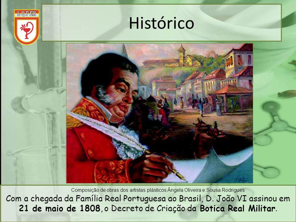 Histórico Com a chegada da Família Real Portuguesa ao Brasil, D. João VI assinou em 21 de maio de 1808, o Decreto de Criação da Botica Real Militar.