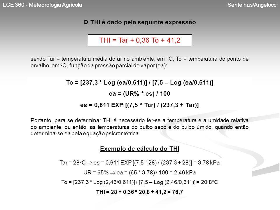 THI = Tar + 0,36 To + 41,2 O THI é dado pela seguinte expressão