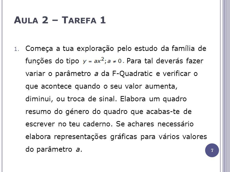 Aula 2 – Tarefa 1 Altera os parâmetros a e h, alternadamente, de forma a estudares a família de funções do tipo.